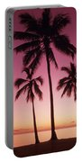 Palms Against Pink Sunset Portable Battery Charger