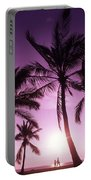 Palms And Pink Sunset Portable Battery Charger