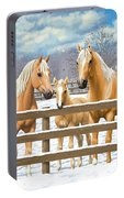 Palomino Quarter Horses In Snow Portable Battery Charger by Crista Forest