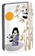 Panda Girl By Mary Ellen Palmeri Portable Battery Charger