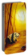 Panda In Sunset Bamboo Portable Battery Charger