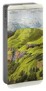 Panorama Drawn From The Rigi Mountain Portable Battery Charger