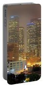 Panorama Of Downtown Los Angeles In The Fog Portable Battery Charger