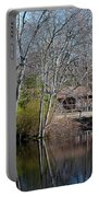 Panorama Of Lake, Trees And Cabin Portable Battery Charger