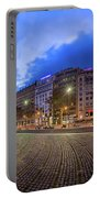 Panorama Of Placa De Catalunya In The Morning, Barcelona, Spain Portable Battery Charger