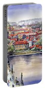 Panorama With Vltava River Charles Bridge And Prague Castle St Vit Portable Battery Charger
