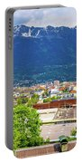 Panoramic Aerial View Of Innsbruck And Hafelekarspitze Mountain Portable Battery Charger