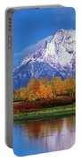 Panoramic Autumn Morning Oxbow Bend Grand Tetons National Park Portable Battery Charger