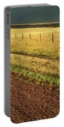 Panoramic Prairie Storm Canada At Sunset Portable Battery Charger