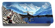Panoramic View Of Annapurna Mountain Nepal Portable Battery Charger