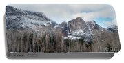 Panoramic View Of Snowed Peaks In Yosemite Park With Snow On The Portable Battery Charger