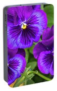 Pansies In Purple And Blue Portable Battery Charger