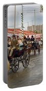 Parade Of Horse Drawn Carriages On Antonio Bienvenida Street Wit Portable Battery Charger