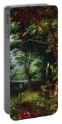 Paradise Scene With Adam And Eve Portable Battery Charger