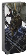 Paratroopers Jump From A C-130 Hercules Portable Battery Charger by Andrew Chittock
