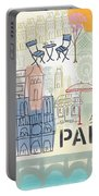 Paris Cityscape- Art By Linda Woods Portable Battery Charger
