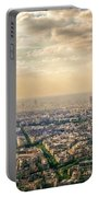 Paris Eiffel Skyline And Cityscape Aerial View At Sunset From Montparnasse Tower Observation Deck  Portable Battery Charger