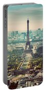 Paris, France Vintage Skyline, Panorama. Eiffel Tower, Champ De Mars Portable Battery Charger