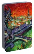 Paris Gargoyle Contemplation Textural Impressionist Stylized Cityscape Portable Battery Charger