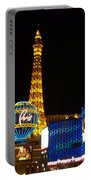 Paris Hotel At Night Portable Battery Charger