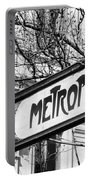 Paris Metro Sign Bw Portable Battery Charger