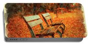Park Bench In Fall Portable Battery Charger