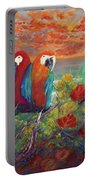 Parrots On Sunset Beach Portable Battery Charger