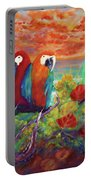 Parrots On The Beach Painterly Portable Battery Charger