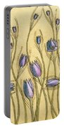 Pastel Floral Pattern On Soft Yellow Background Portable Battery Charger