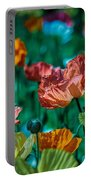 Pastel Poppies On Blue Haze Portable Battery Charger