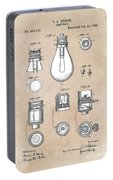 patent art Edison 1890 Lamp base Portable Battery Charger