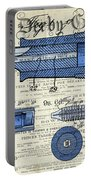 Patent, Old Pen Patent,blue Art Drawing On Vintage Newspaper Portable Battery Charger