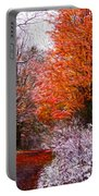 Path In Fall With Early Snowfall Portable Battery Charger
