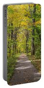 Path In The Woods During Fall Leaf Season Portable Battery Charger
