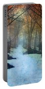 Path Through The Woods In Winter At Sunset Portable Battery Charger by Jill Battaglia