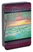 Path To The Pedernales River With Painted Frame Portable Battery Charger