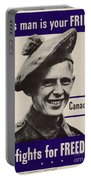 Patriotic World War 2 Poster Us Allies Canada Portable Battery Charger