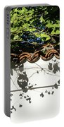 Patterned Sunshine - Ginkgo Shadows On A White Stucco Wall Portable Battery Charger