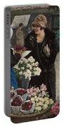 Paul Fischer, 1860-1934, Flower Market In Copenhagen Portable Battery Charger