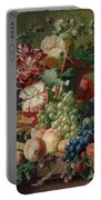 Paulus Theodorus Van Brussel - Still Life Of Flowers And Fruit On A Stone Ledge, Portable Battery Charger