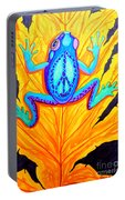 Peace Frog On Fall Leaf Portable Battery Charger