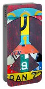 Peace License Plate Art Portable Battery Charger