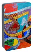 Peace Love And Hope Arabic Inspirational Calligraphy Portable Battery Charger by Riad Belhimer
