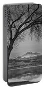 Peaceful Early Morning Sunrise Longs Peak View Bw Portable Battery Charger