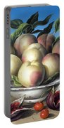 Peaches In Delft Bowl With Purple Figs Portable Battery Charger