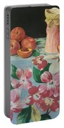 Peaches On Floral Tablecloth Portable Battery Charger