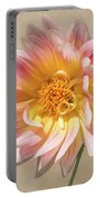 Peachy Pink Dahlia Close-up Portable Battery Charger