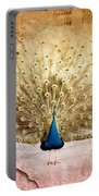 Peacock Bird Textured Background Portable Battery Charger