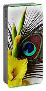Peacock Feather And Gladiola 3 Portable Battery Charger