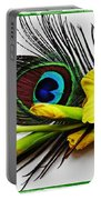 Peacock Feather And Gladiola 4 Portable Battery Charger